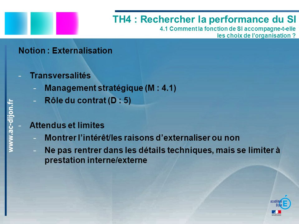 TH4 : Rechercher la performance du SI 4