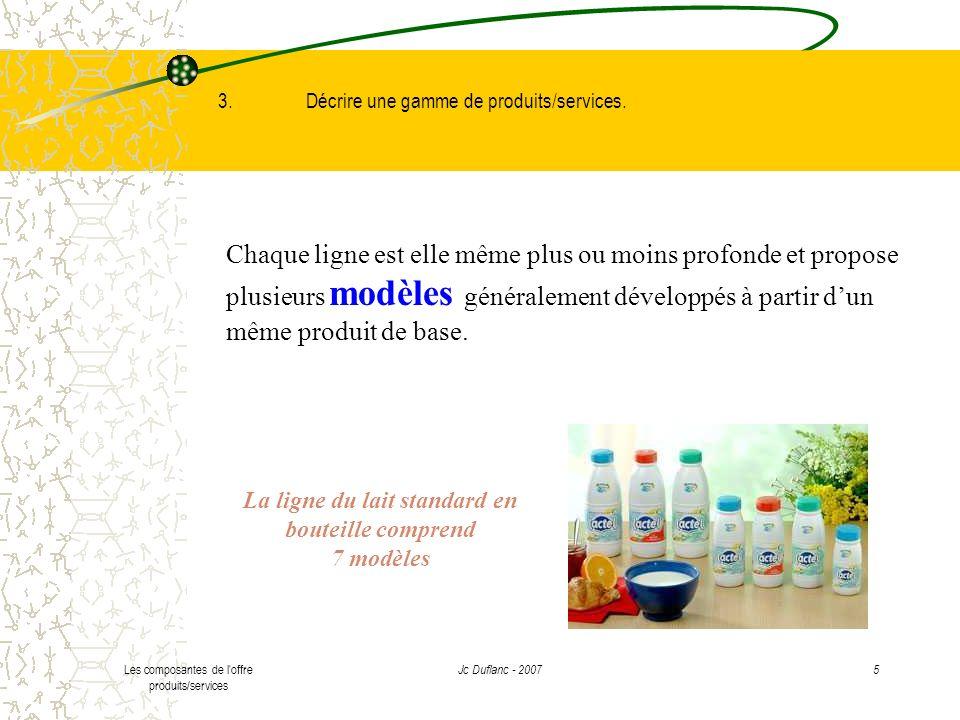 La ligne du lait standard en bouteille comprend