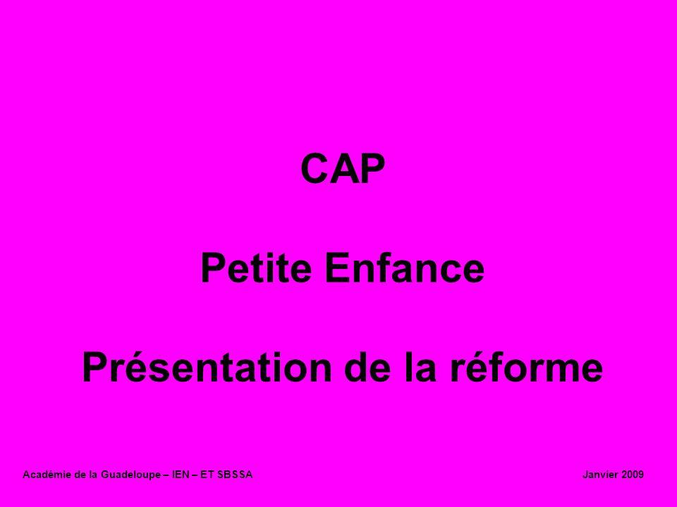 CAP Petite Enfance Présentation de la réforme