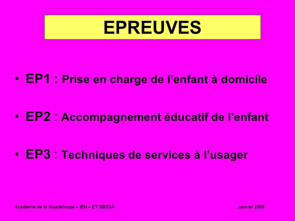 EPREUVES EP1 : Prise en charge de l'enfant à domicile