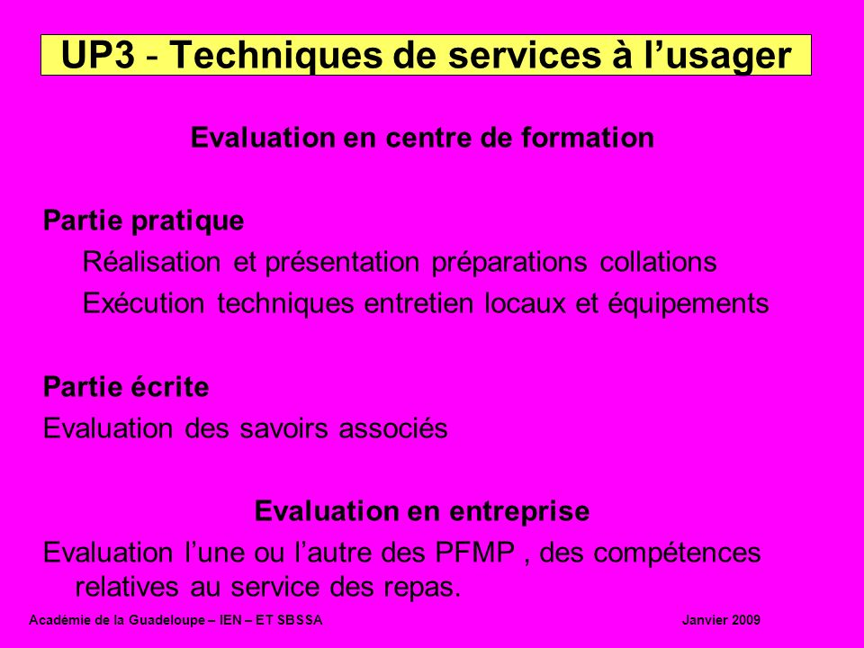 UP3 - Techniques de services à l'usager