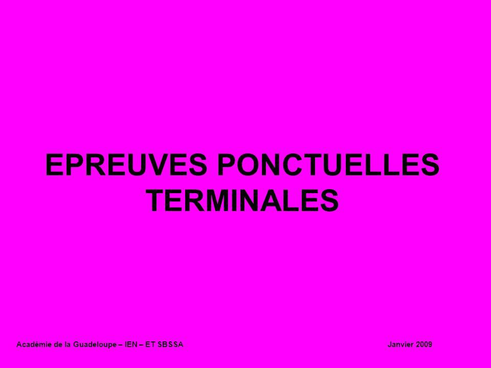EPREUVES PONCTUELLES TERMINALES