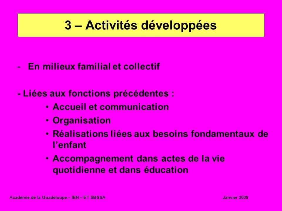 3 – Activités développées
