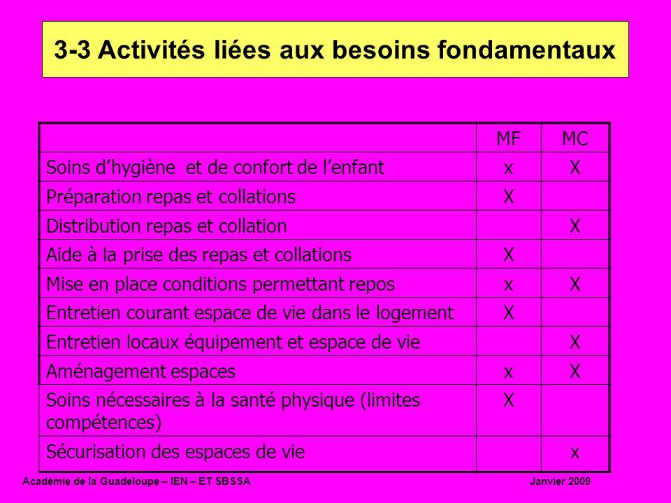 3-3 Activités liées aux besoins fondamentaux