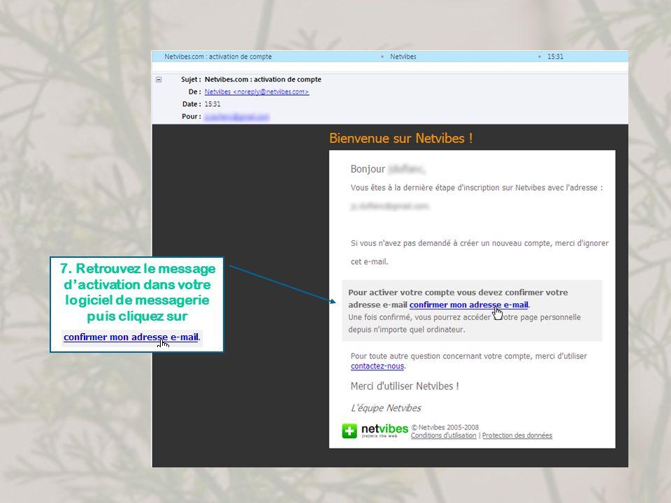 7. Retrouvez le message d'activation dans votre logiciel de messagerie puis cliquez sur
