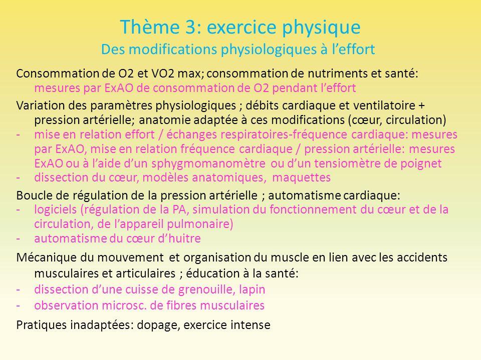 Thème 3: exercice physique Des modifications physiologiques à l'effort