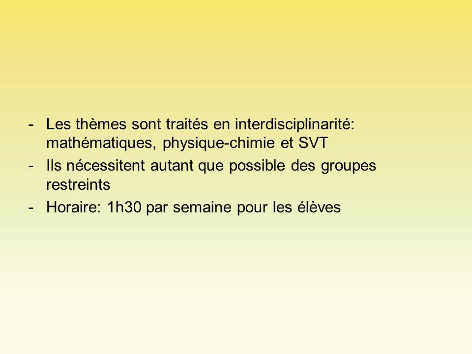 Les thèmes sont traités en interdisciplinarité: mathématiques, physique-chimie et SVT