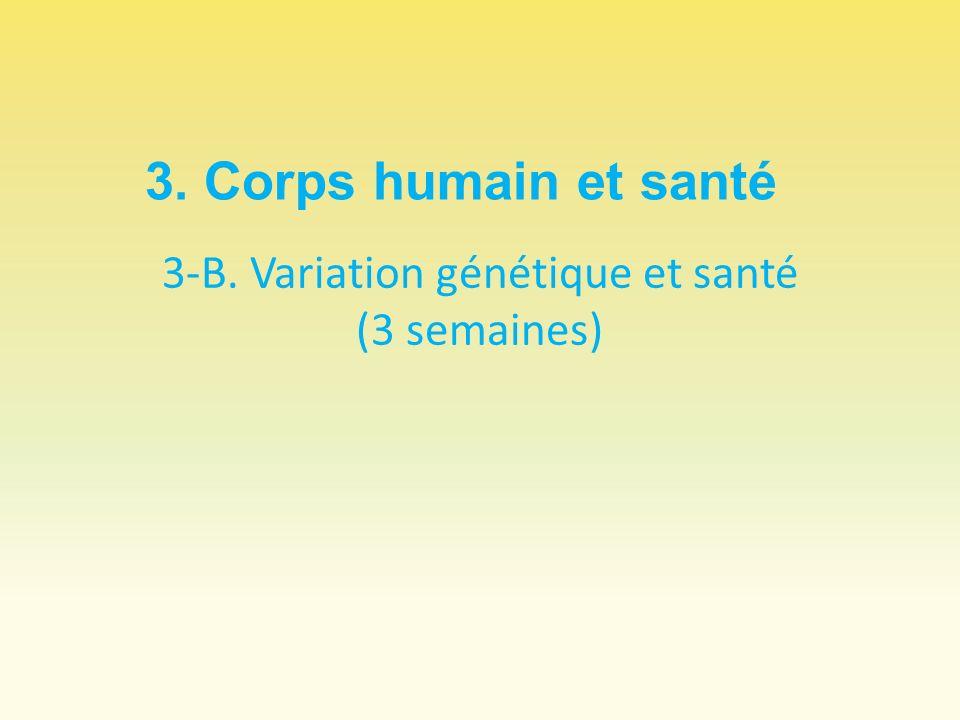 3-B. Variation génétique et santé (3 semaines)