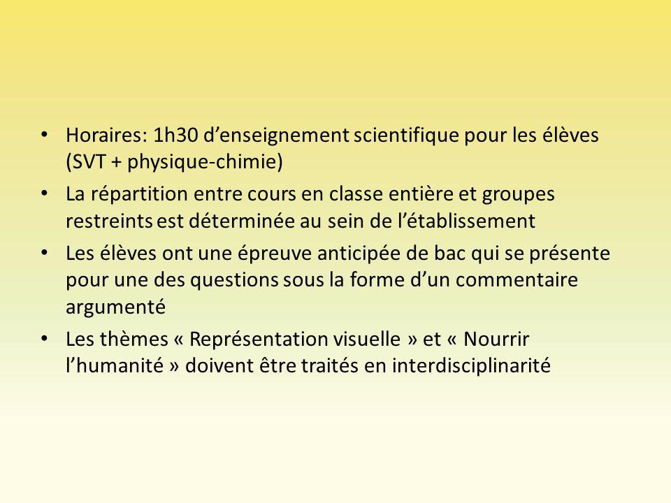 Horaires: 1h30 d'enseignement scientifique pour les élèves (SVT + physique-chimie)