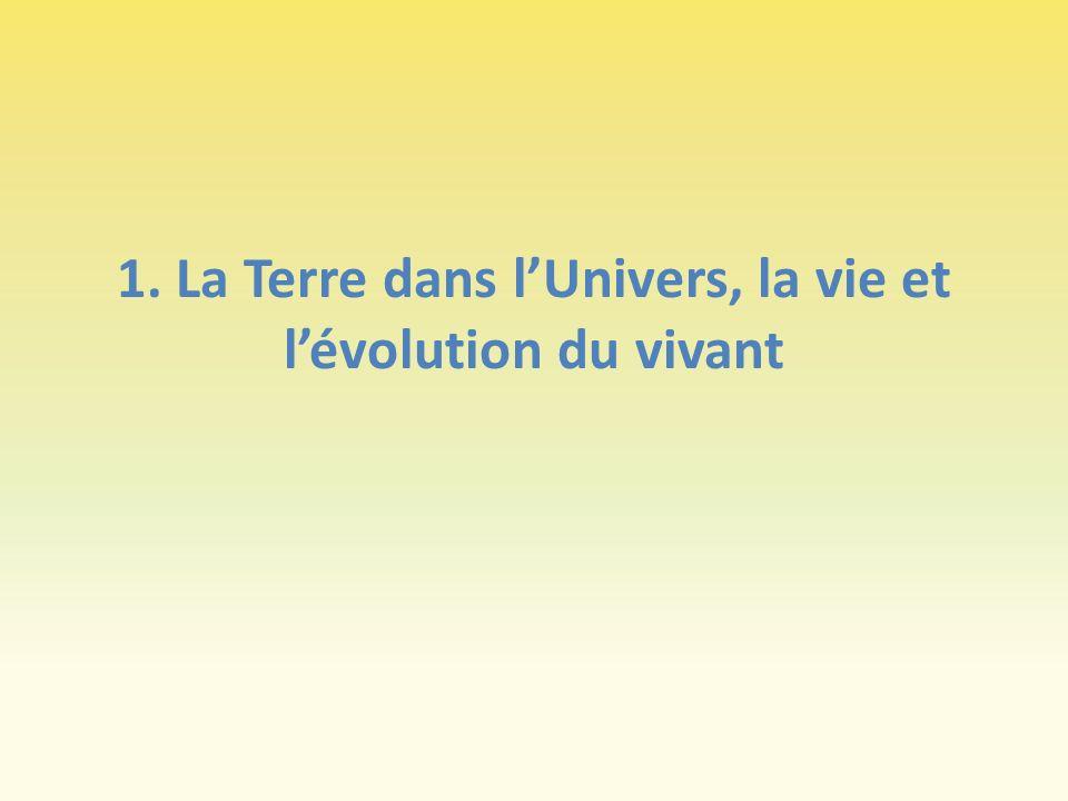 1. La Terre dans l'Univers, la vie et l'évolution du vivant
