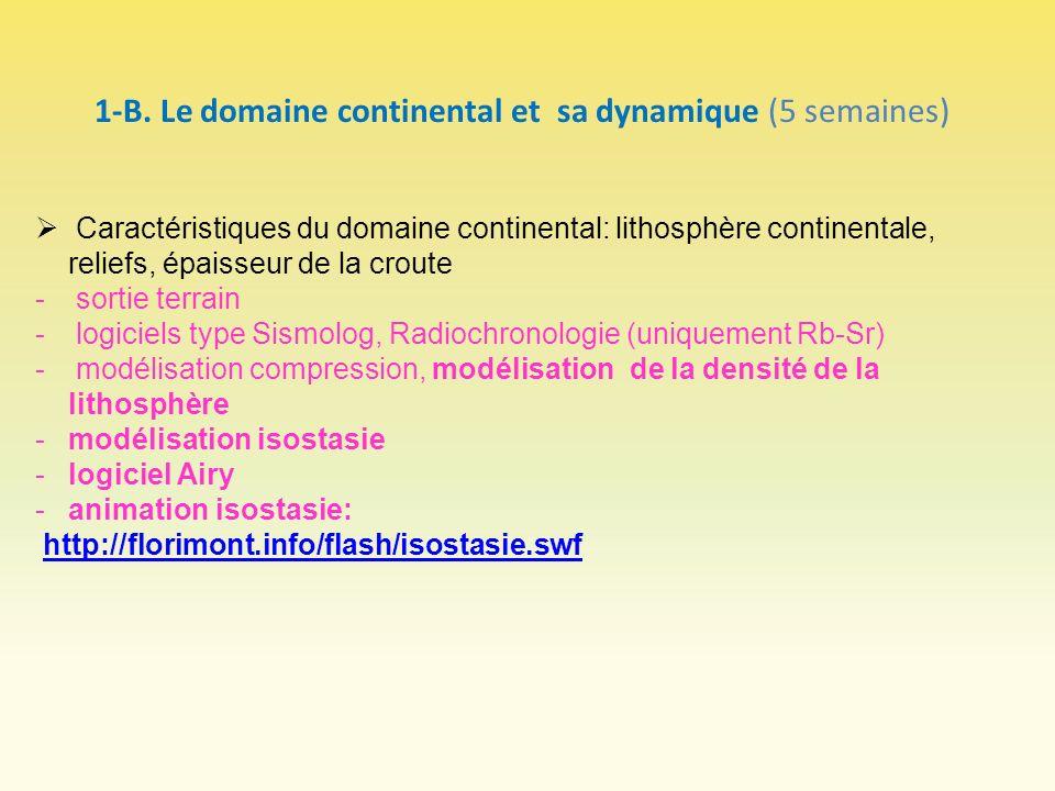 1-B. Le domaine continental et sa dynamique (5 semaines)