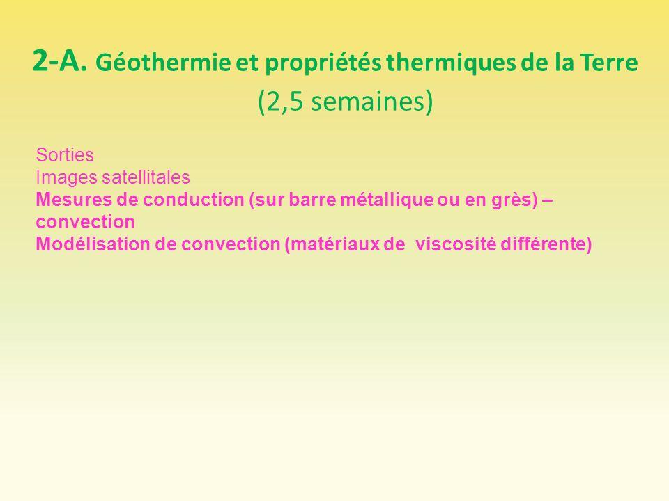 2-A. Géothermie et propriétés thermiques de la Terre (2,5 semaines)