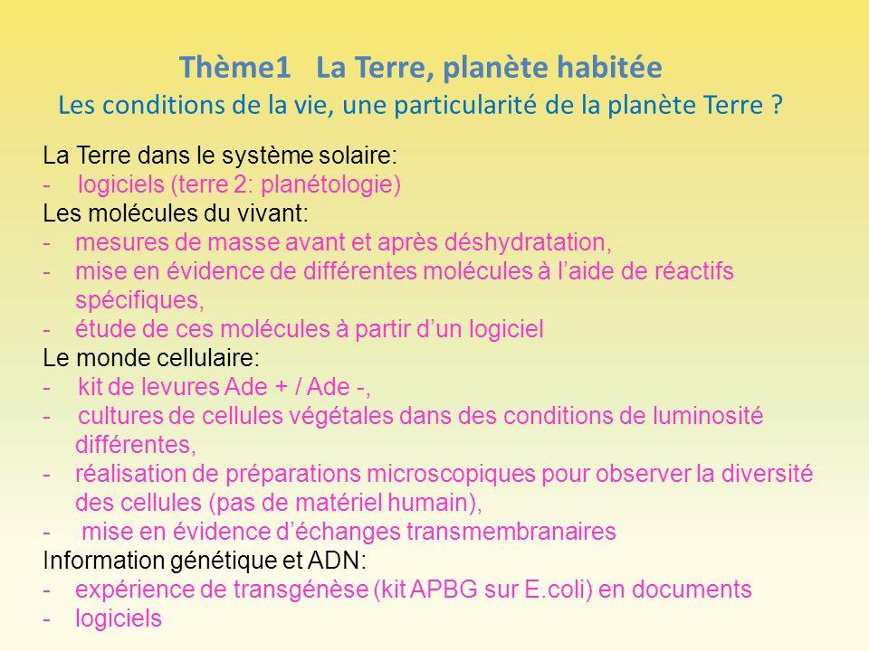 Thème1 La Terre, planète habitée Les conditions de la vie, une particularité de la planète Terre