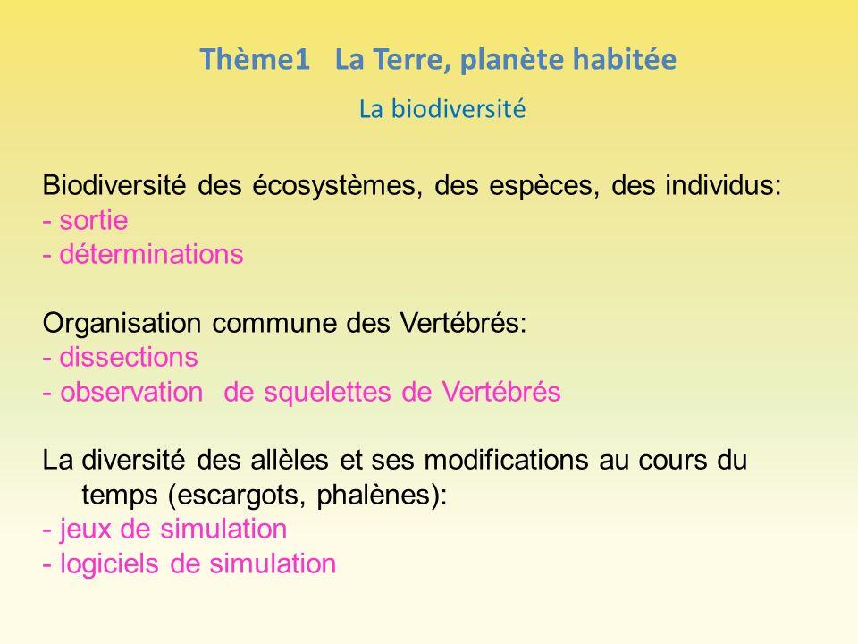 Thème1 La Terre, planète habitée La biodiversité