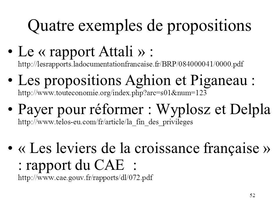Quatre exemples de propositions
