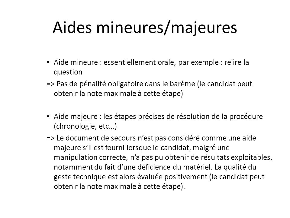 Aides mineures/majeures