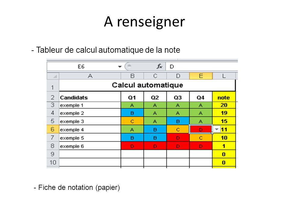 A renseigner - Tableur de calcul automatique de la note