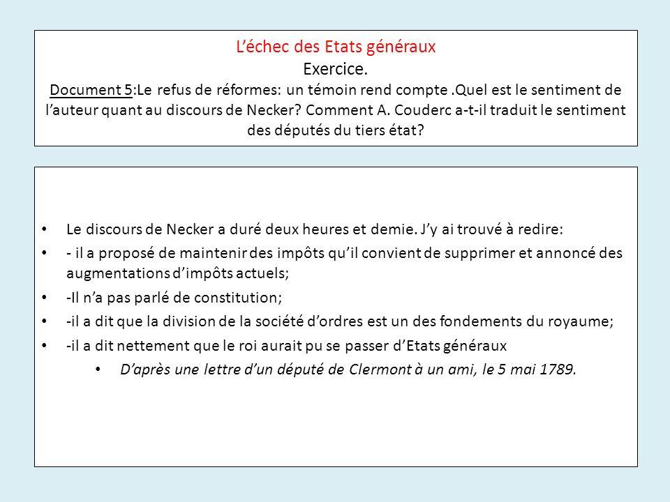 D'après une lettre d'un député de Clermont à un ami, le 5 mai 1789.