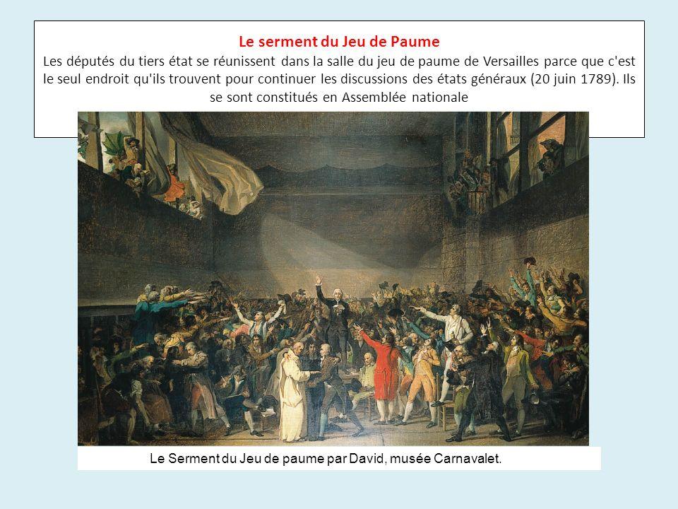 Le serment du Jeu de Paume Les députés du tiers état se réunissent dans la salle du jeu de paume de Versailles parce que c est le seul endroit qu ils trouvent pour continuer les discussions des états généraux (20 juin 1789). Ils se sont constitués en Assemblée nationale