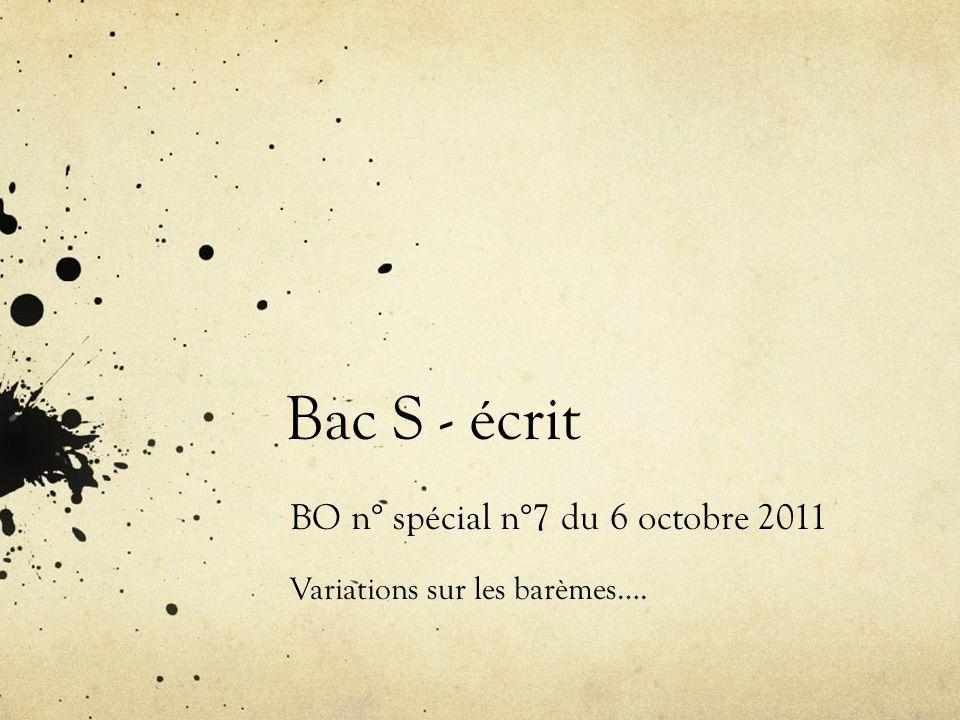 BO n° spécial n°7 du 6 octobre 2011 Variations sur les barèmes….