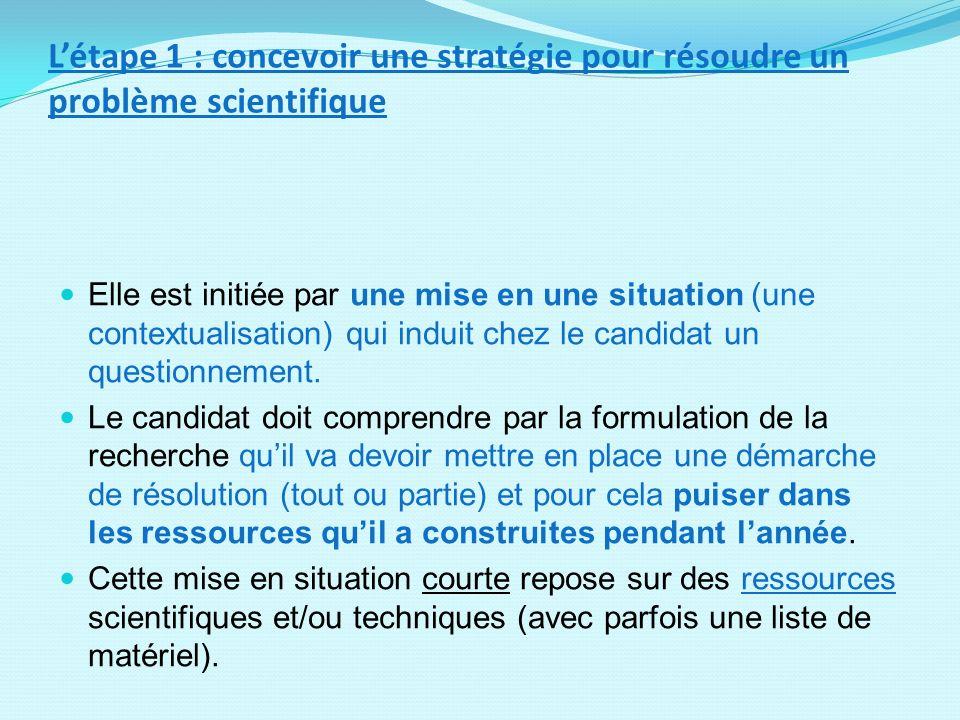 L'étape 1 : concevoir une stratégie pour résoudre un problème scientifique