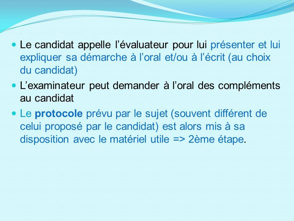 Le candidat appelle l'évaluateur pour lui présenter et lui expliquer sa démarche à l'oral et/ou à l'écrit (au choix du candidat)