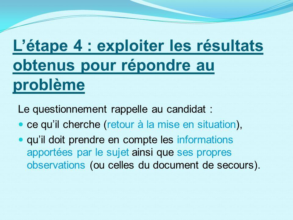 L'étape 4 : exploiter les résultats obtenus pour répondre au problème