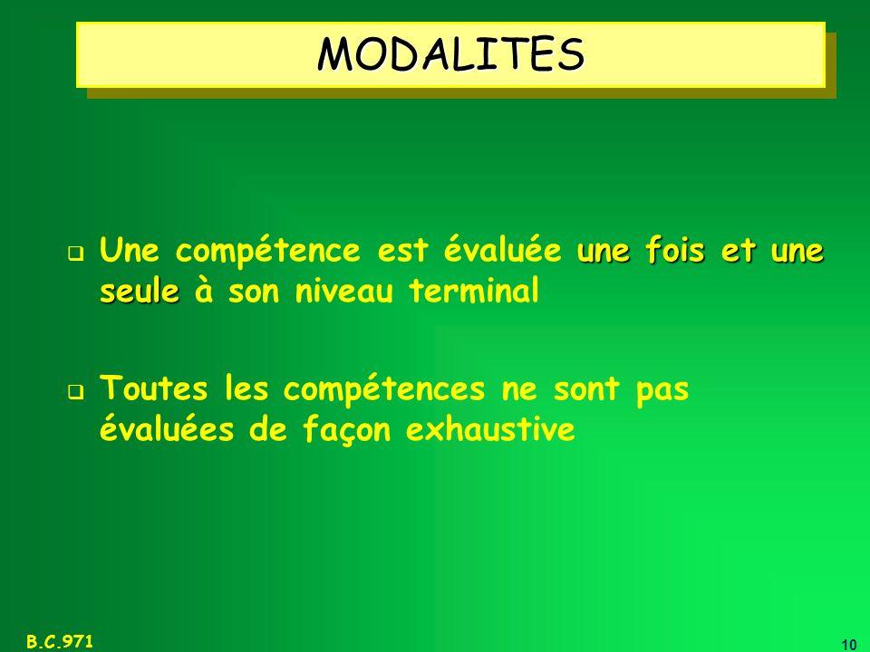 MODALITES Une compétence est évaluée une fois et une seule à son niveau terminal.