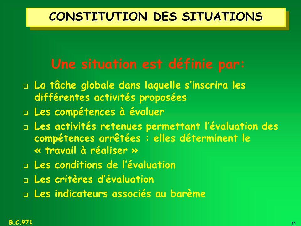 CONSTITUTION DES SITUATIONS Une situation est définie par: