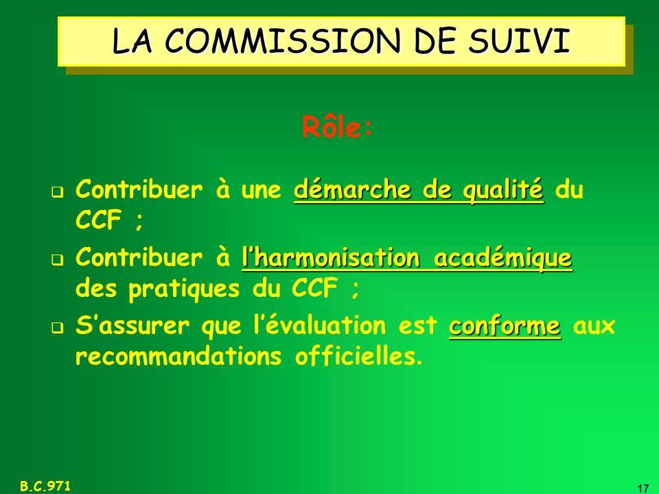 LA COMMISSION DE SUIVI Rôle: