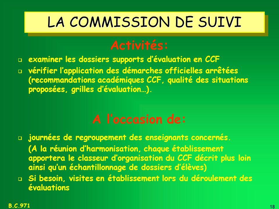 LA COMMISSION DE SUIVI Activités: A l'occasion de: