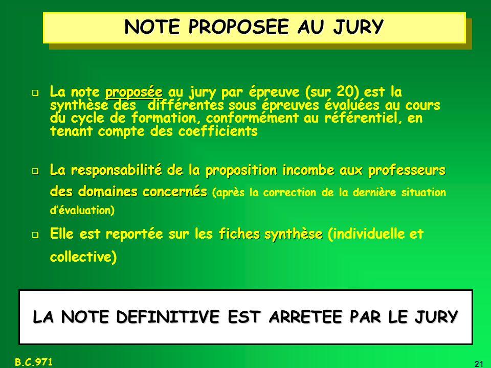 LA NOTE DEFINITIVE EST ARRETEE PAR LE JURY