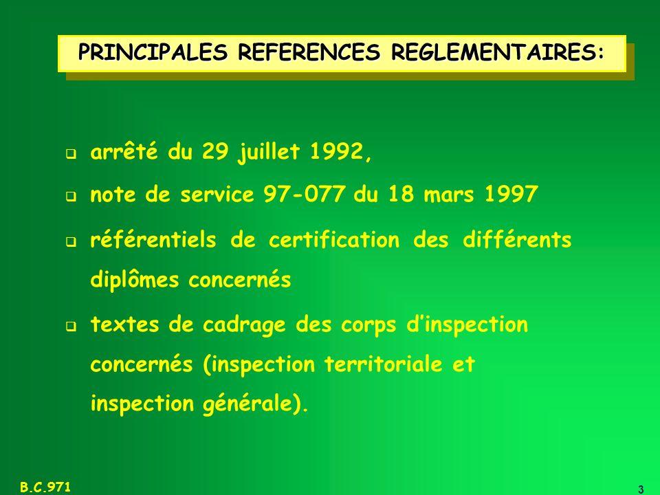 PRINCIPALES REFERENCES REGLEMENTAIRES: