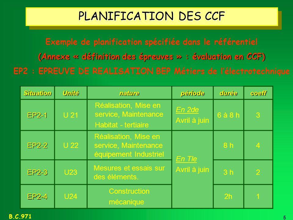 PLANIFICATION DES CCF Exemple de planification spécifiée dans le référentiel. (Annexe « définition des épreuves » : évaluation en CCF)