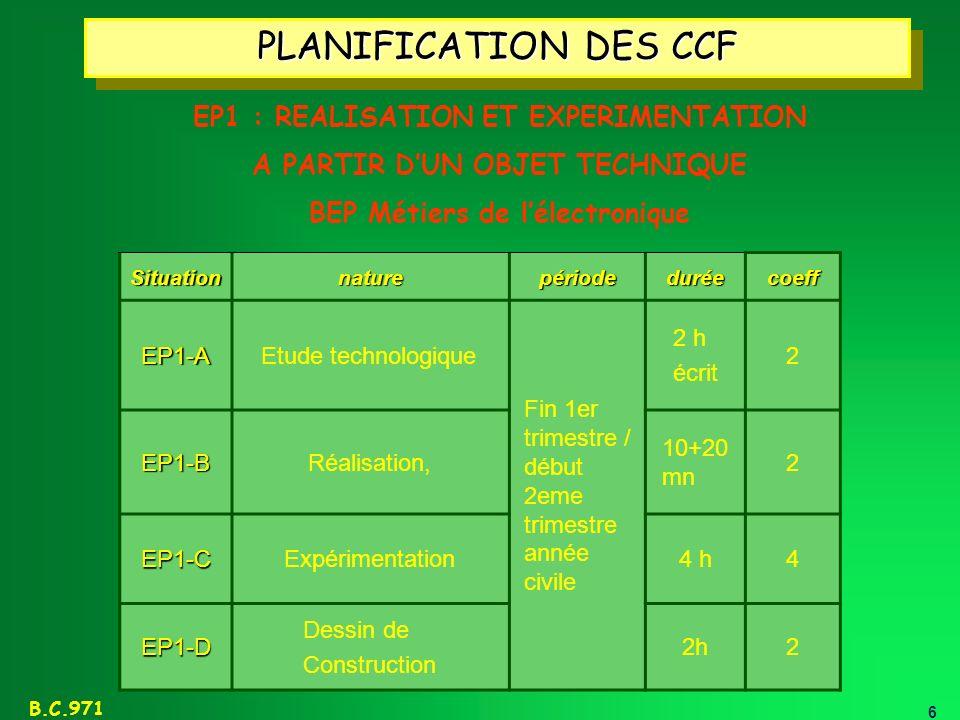 PLANIFICATION DES CCF EP1 : REALISATION ET EXPERIMENTATION