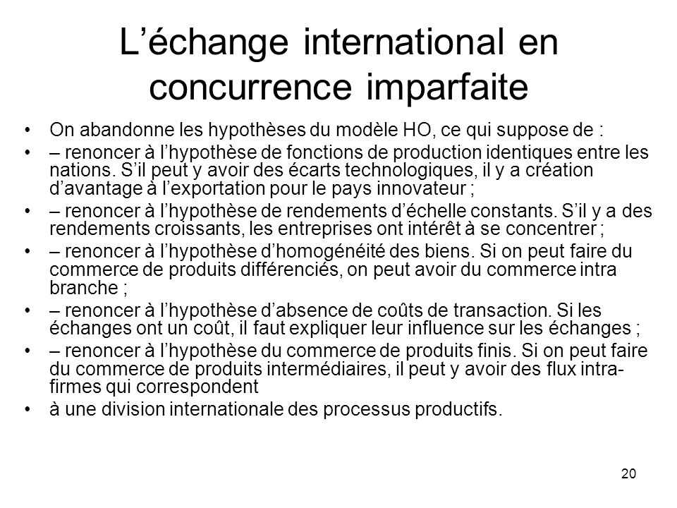 L'échange international en concurrence imparfaite