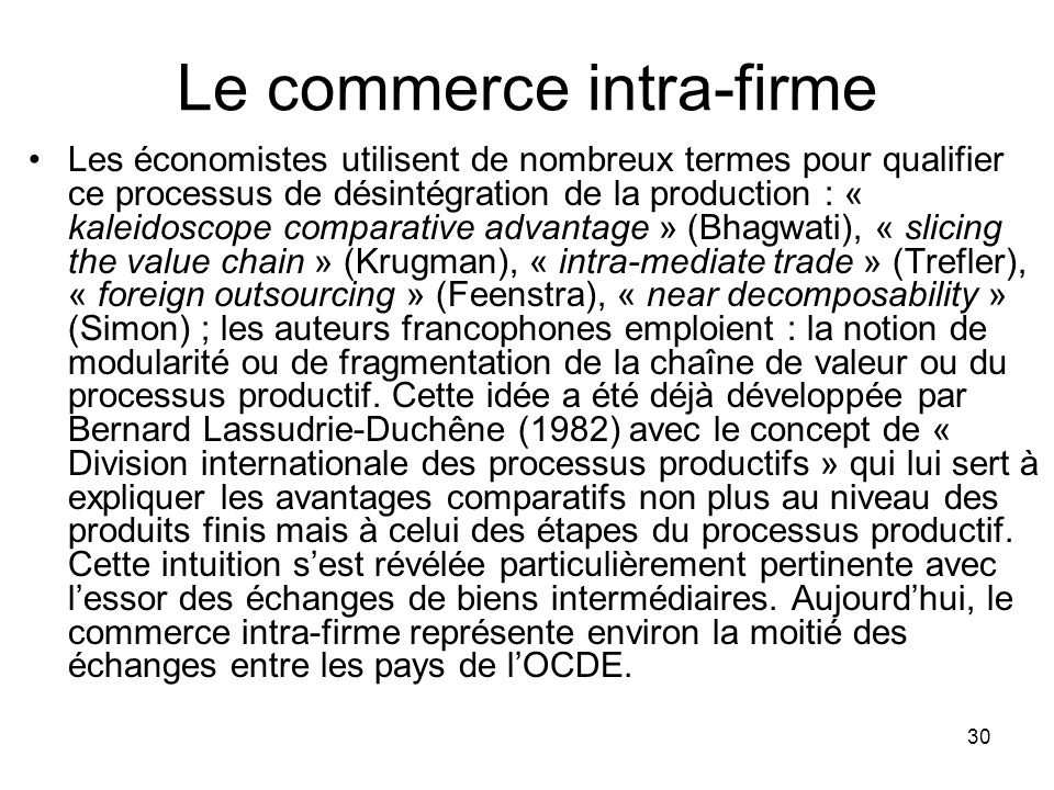 Le commerce intra-firme