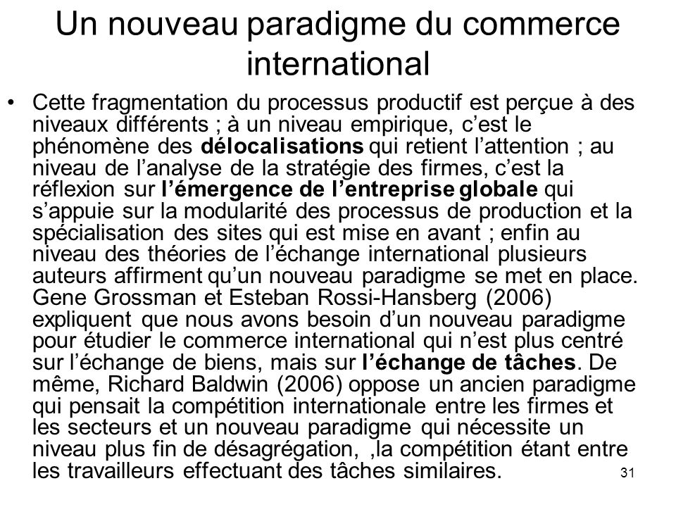 Un nouveau paradigme du commerce international