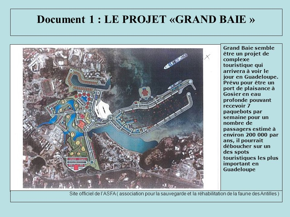 Document 1 : LE PROJET «GRAND BAIE »