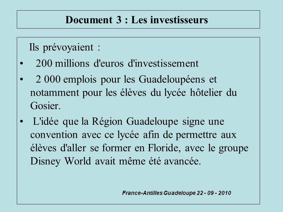 Document 3 : Les investisseurs