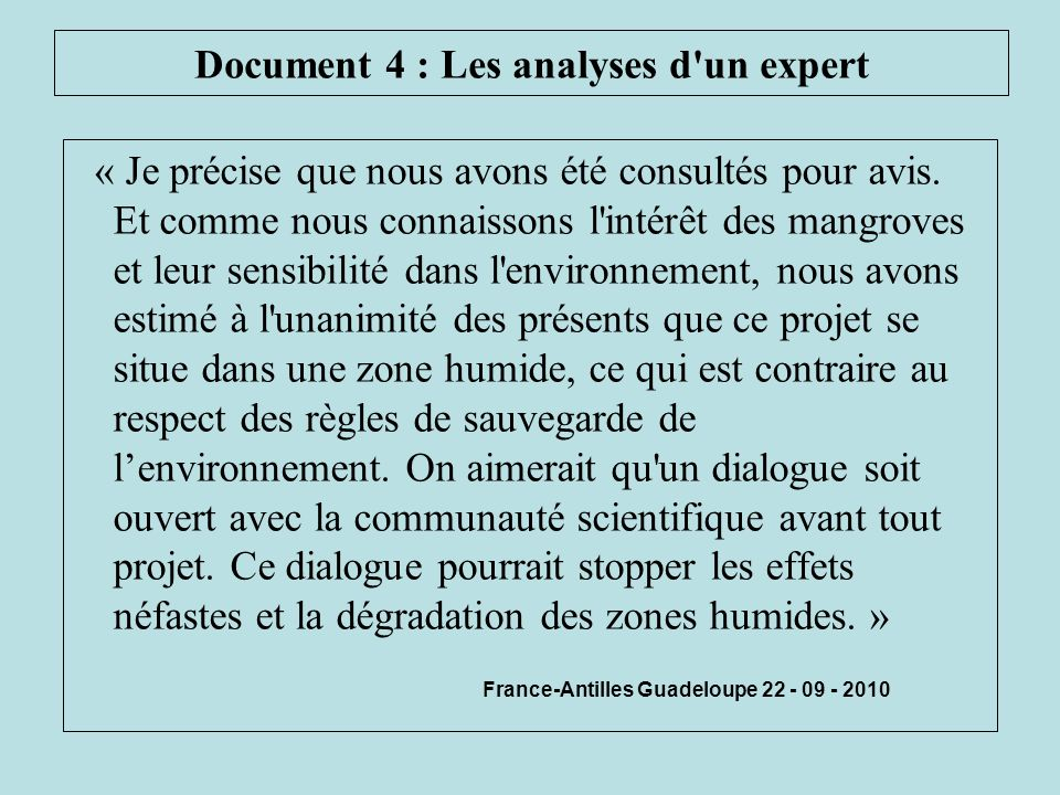 Document 4 : Les analyses d un expert