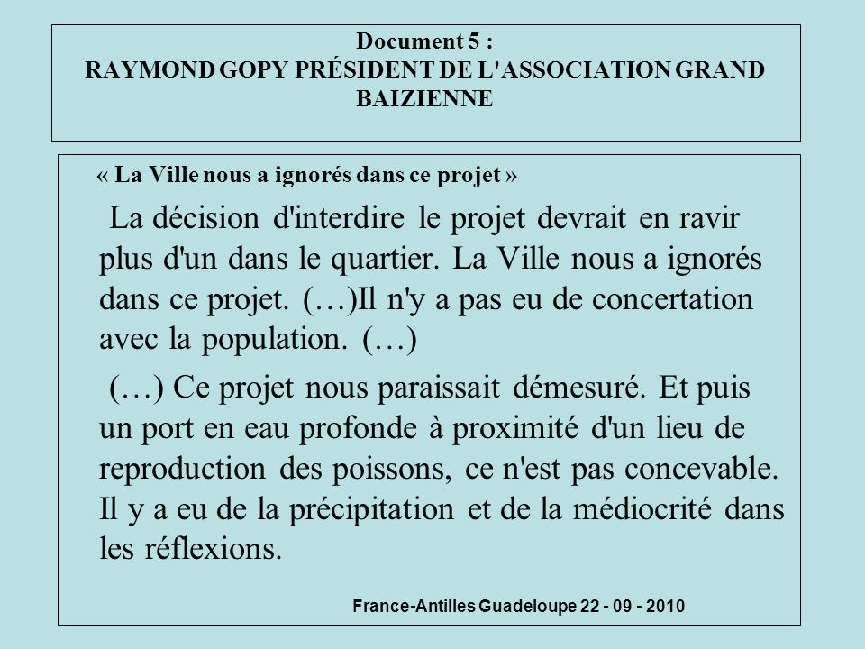 Document 5 : RAYMOND GOPY PRÉSIDENT DE L ASSOCIATION GRAND BAIZIENNE
