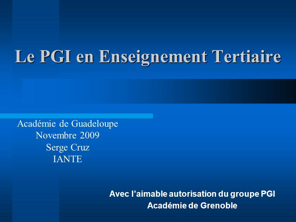 Le PGI en Enseignement Tertiaire