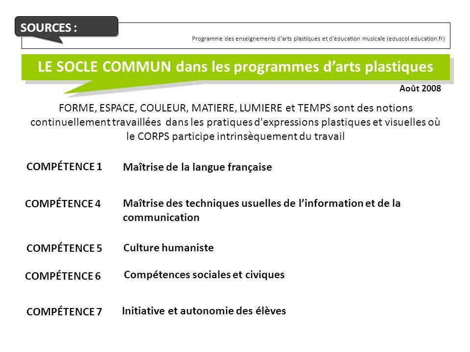 LE SOCLE COMMUN dans les programmes d'arts plastiques