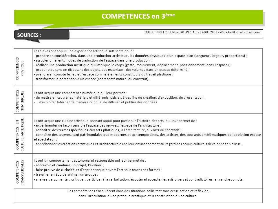 COMPETENCES en 3ème SOURCES :