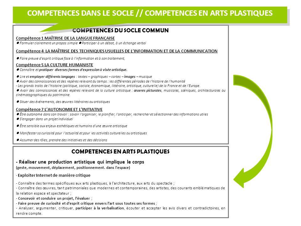 COMPETENCES DANS LE SOCLE // COMPETENCES EN ARTS PLASTIQUES