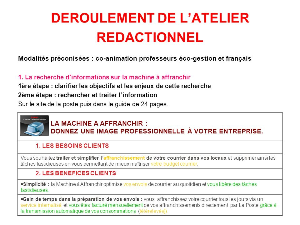 DEROULEMENT DE L'ATELIER REDACTIONNEL