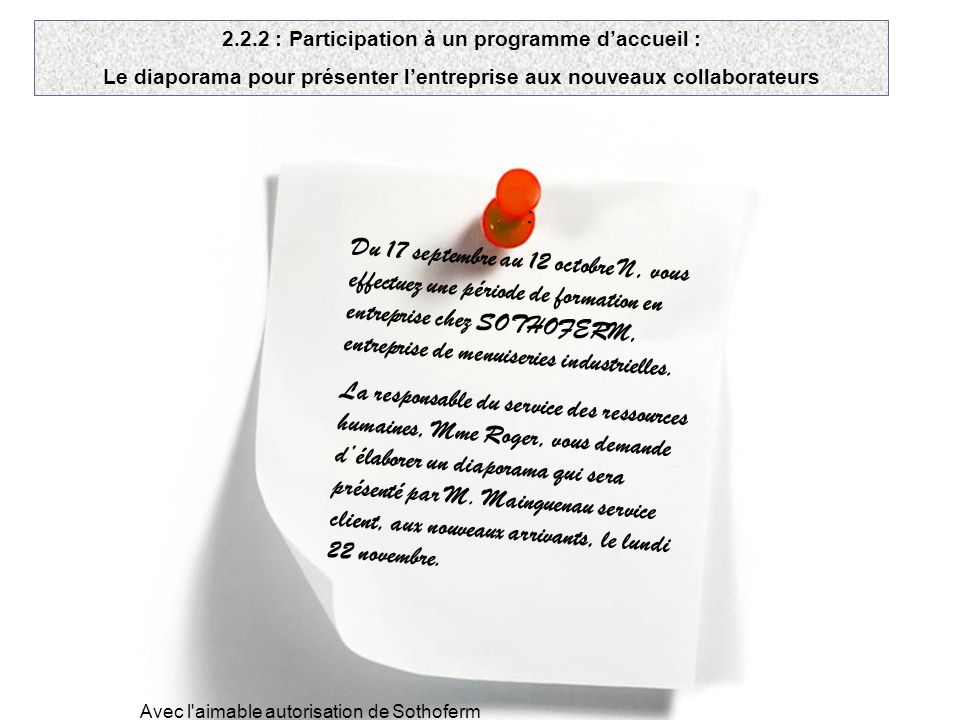2.2.2 : Participation à un programme d'accueil :