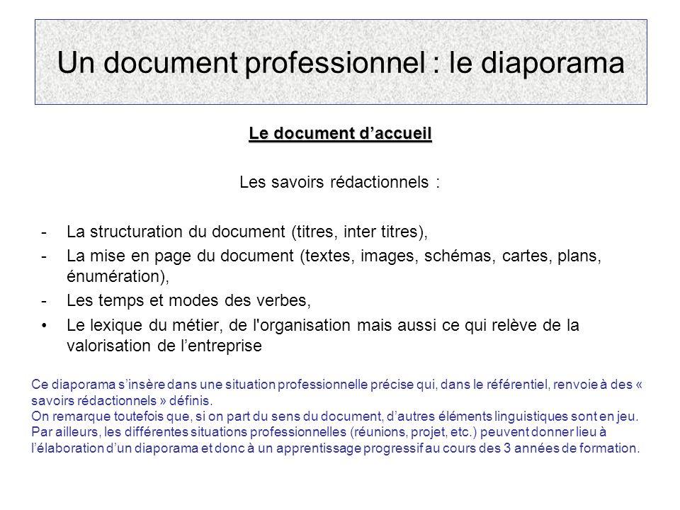 Un document professionnel : le diaporama