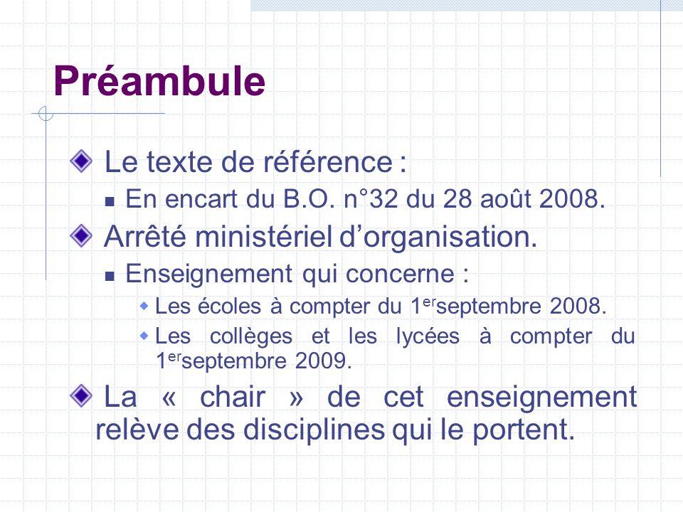 Préambule Le texte de référence : Arrêté ministériel d'organisation.